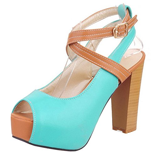 FANIMILA Women Elegante Peep Toe Plataforma Sandals Open Back Tacon Ancho Zapatos Blue