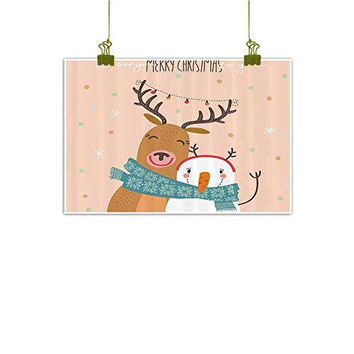Sumilace Art Poster Poster Painting, Best Friend New Year Theme with Hipster Christmas Characters Deer and Snowman Graphic Home Decoration - 31