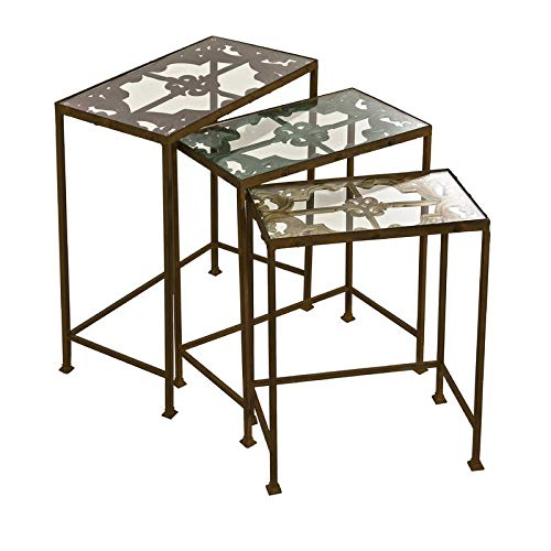 3 Piece Nesting Iron End Table Set - End Table with Glass Top - Brown (Tables Nesting Square Iron)