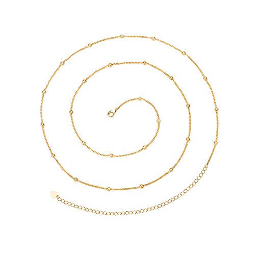 (PEARLADA Minimalist Beach Bikini Body Chain 18K Gold Satellite Belly Chain Handmade Adjustable Jewelry for Women Girls Fashion Sexy Waist Chain)