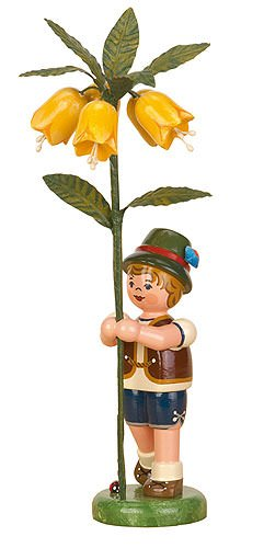 Small Figures & Ornaments Flower child boy with Imperial crown - 17cm / 7inch - Hubrig Volkskunst