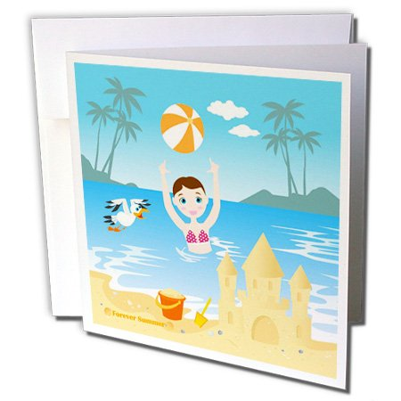 3dRose Belinha Fernandes - Summer at the beach - Girl playing in the sea at tropical beach near a sand castle and seagull - 12 Greeting Cards with envelopes (gc_156605_2)