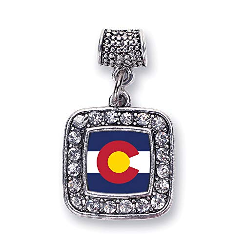 Inspired Silver - Colorado Flag Memory Charm for Women - Silver Square Charm for Bracelet with Cubic Zirconia Jewelry