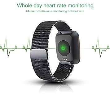 Reloj inteligente para hombres mujeres niños, Bluetooth Smartwatch con banda de acero inoxidable, IP68 impermeable SMS podómetro monitor de ritmo ...