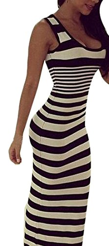 YUNY Women Round Neck Stripe Bodycon Tank Top Sexy Long Dress As Picture XL