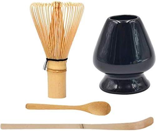 PALIDUO Japanisches Matcha-Werkzeugset Bambusschaufel Bambusl/öffel Bambus-Schneebesen Keramik-Schneebesenhalter geeignet f/ür Teezeremonien schwarz