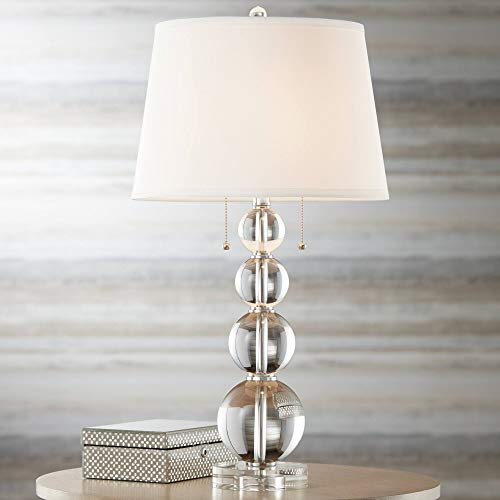(Modern Table Lamp Stacked Crystal Spheres White Drum Shade for Living Room Family Bedroom Bedside Nightstand - Vienna Full Spectrum)