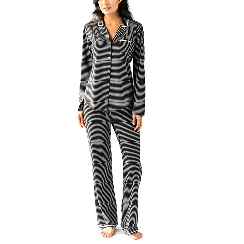 Naked Women's Pajama Set - Long Sleeve Button Down Top With Pants - Sleepwear For Women - Pinstripe Black, X-Small (Bra Pinstripe Stretch)