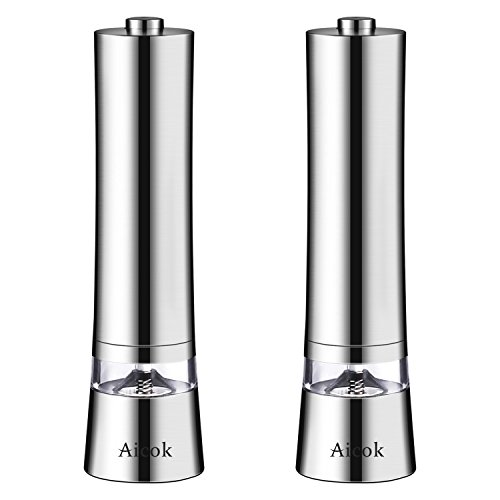 Aicok Electric Salt And Pepper Grinder Set Pack Of 2