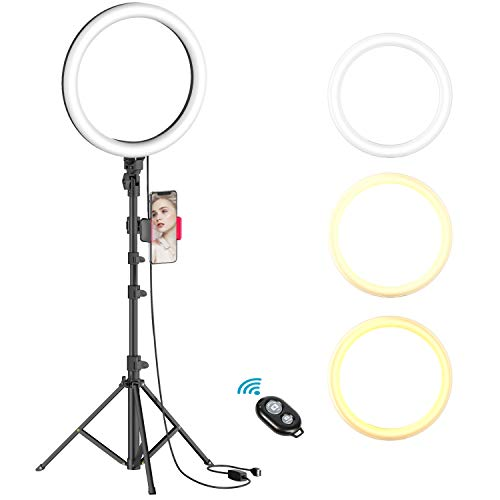 10″ Selfie Ring Light with Tripod Stand & Phone Holder for Live Stream/Makeup, Dimmable Led Camera Beauty Ringlight for YouTube TikTok/Photography Compatible with Cell Phone(Upgraded)