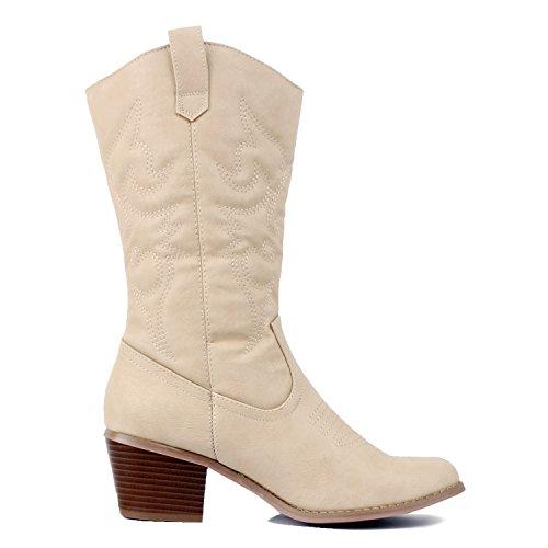 West Blvd Miami Cowboy Western Boots Boots, Beige PU, 7.5 (B) M US