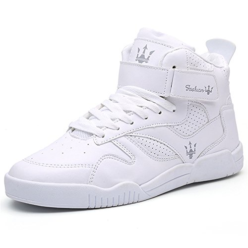 QANSI Classic Leather Lace Up High Top Street Sneakers With Velcro Strap For Men White 6 M US