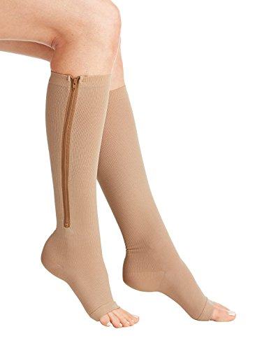 AAATS Zipper Compression Socks Open Toe Calf Leg Support Medical Hose Zip Stocking Helps Varicose Veins, Edema, Swelling, Swollen or Sore Legs (ZipSoxBeige XXL 1 Pr)