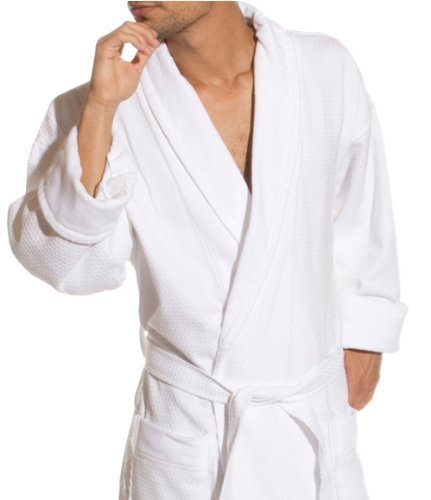 - Ivory Waffle Weave Bath Robe with Jacquard Velour Shawl Collar, 100% Cotton
