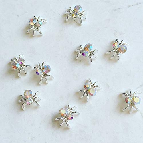 RoseWhiteLime Nail Charms - 10 Pcs Crystal AB Spider Silver Nail Charms, 3D Nail Art, Crystal Spider Nail Decorations ()