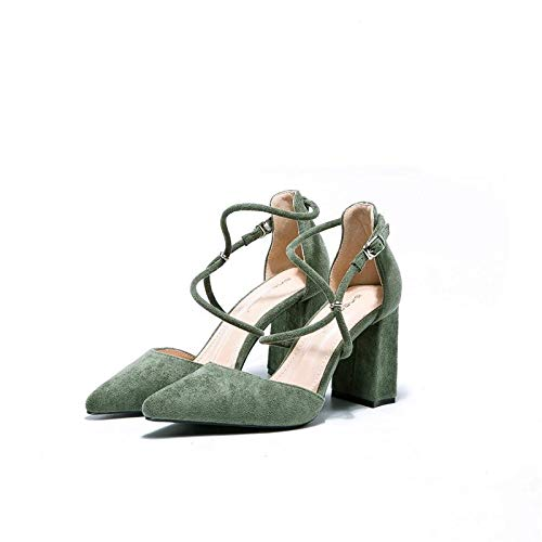 Wild Pointed Mouth High Shallow Female Green With Autumn Wind Gentle Girl Single heels Bridesmaid Heeled Shoes Yukun High Shoes wZqw8