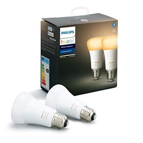 Philips Hue Standaard Lamp 2-Pack – E27 – Duurzame LED Verlichting – Warm tot Koelwit Licht – Dimbaar – Verbind met…
