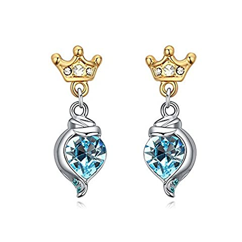 Alvdis One Pair Love Heart Crown Style Swarovski Crystal Fashion Ear Ring Earrings, Blue - 17077 Kit