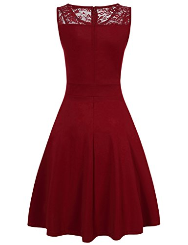 Women Elegant Sleeveless Vintage Cocktail Business Dress Wine Red XL