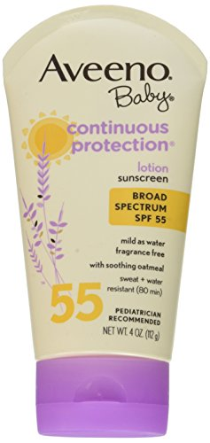 Aveeno Baby Sunscreen Lotion, SPF 55, 4 Ounce (Pack of 2)