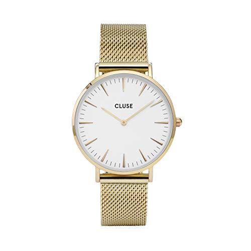 CLUSE La Bohème Mesh Gold White CL18109 Women's Watch 38mm Stainless Steel Strap Minimalistic Design Casual Dress Japanese Quartz Elegant Timepiece