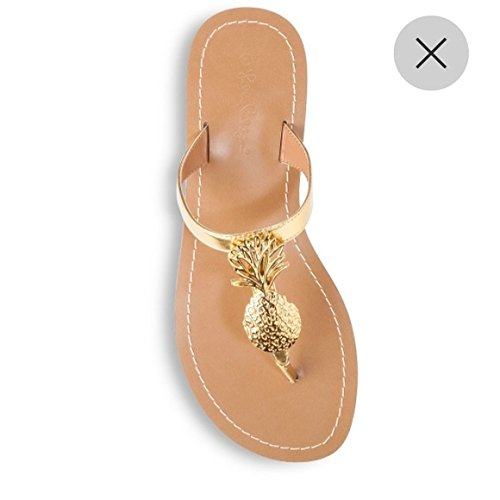 3fedfe4db763 Amazon.com  Lilly Pulitzer for Target Gold Pineapple Sandals - Size 7   Beauty