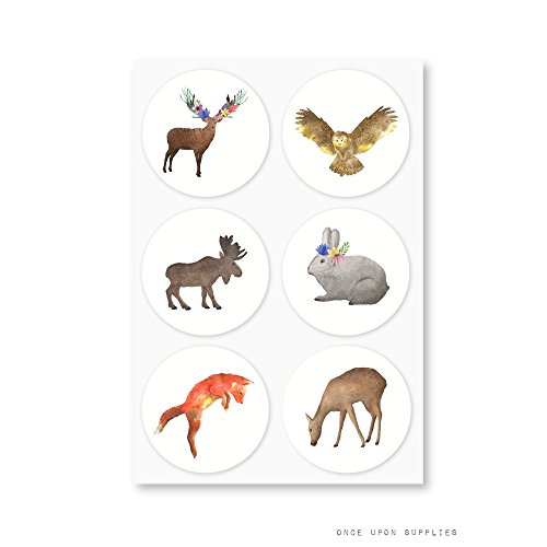 Woodland Forest Animals Round Stickers, Featuring Deer, Fox, Owl, Rabbit and Moose, for Kids Birthday Party or Baby Shower Decoration, by Once Upon Supplies, 1.5'', 30 Stickers by Once Upon Supplies