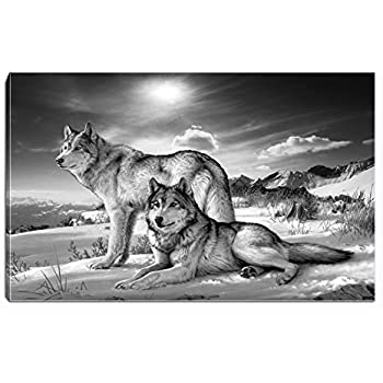 Wolf Canvas Print Wall Art Black and White Animal Painting Picture Stretched and Framed for Living Room Bedroom Bathroom Office Decor (Black and White7)