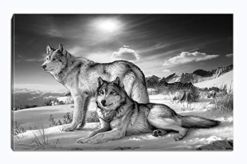 Frame Wolf Photo - Wolf Canvas Print Wall Art Black and White Animal Painting Picture Stretched and Framed for Living Room Bedroom Bathroom Office Decor (Black and White7)