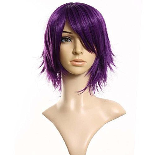 0cm layered filp out heat-resist Theater Cosplay wig- Purple ()