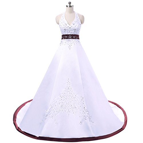 Vantexi Women's Embroidery Satin Halter Wedding Dress White Burgundy Size 28