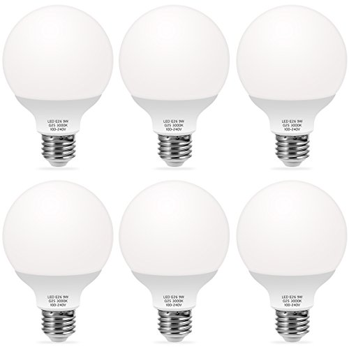 - TechgoMade G25 LED Bulb, Globe Bulbs 9W LED (60W Equivalent) Decorative Globe Vanity Light Bulbs, Round, Medium Base E26, Non-Dimmable, Perfect For Bathrooms Mirror Lighting, Soft White 3000K (6 Pack)
