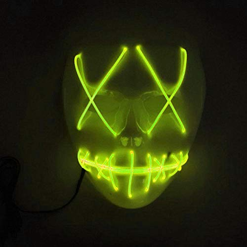 Niome LED Mask Light Up Mask Cosplay Costume Light Up Scary Halloween Party Purge Wire Decor Fluorescent Green ()