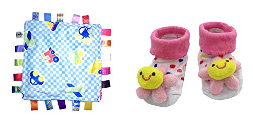 New Cute Baby Spring Flowers & Little Taggie Vehicle Blanket Theme 2-Pack 3-12 Months w/Gift -