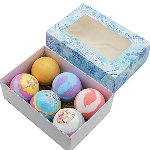 WONdere Bath Bombs Gift 6 Set - Organic Bath Bombs - Lush Fizzy Spa to Moisturize Dry Skin - Perfect Birthday Gifts Idea for Kids Women - Natural Essential Oils, Bath Salts and Shea Butter (B)