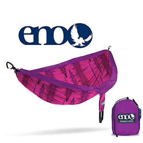 ENO – Eagles Nest Outfitters DoubleNest Print Portable Hammock for Two, Soundwave Magenta