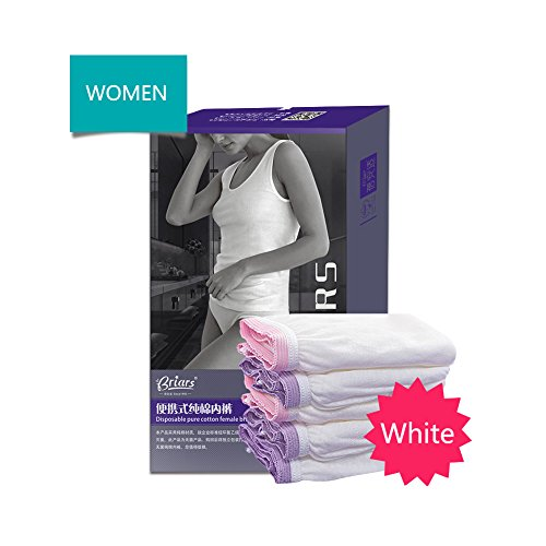 HaloVa Women's Disposable Briefs 100% Cotton incontinence Underwear for Travel, Business, Comfortable and Healthy, 4 Count, White