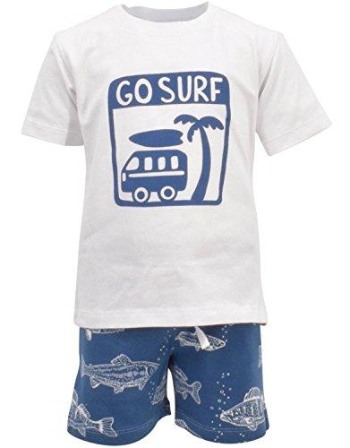 Unique Baby Boys Go Surf 2 Piece Summer Outfit (4T) Blue ()