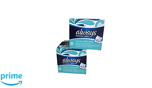 Amazon.com: Always Feminine To Go Wipes-Fresh & Clean-Individual Packets-2 Boxes-Total 40 individual wipes: Health & Personal Care