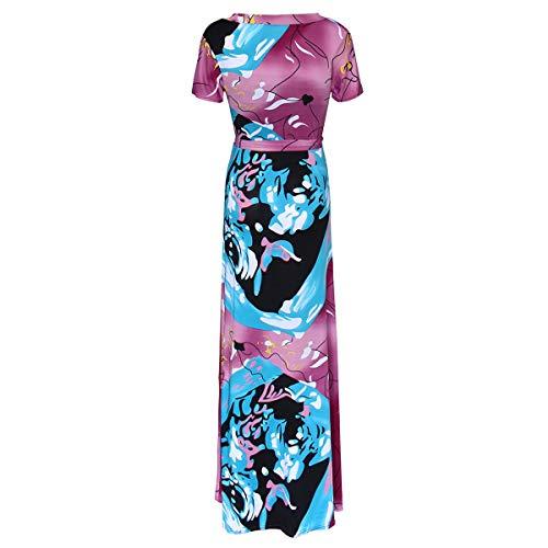 Boho Cuello Mujeres 5XL tamaño Beach Sundress Shown Long Corta Dress V Manga Line As Cintura Color A Maxi rrqfC