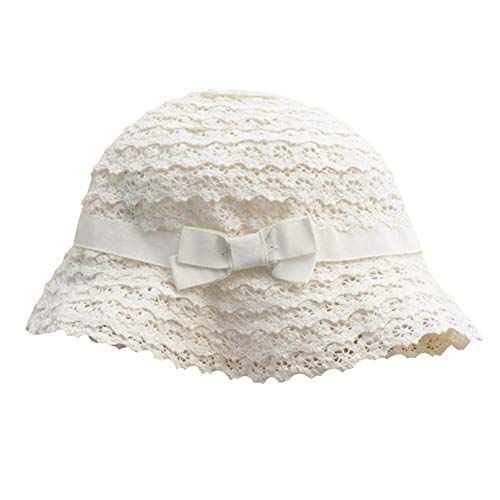 Soft Cotton Lace Breathable UV Protective Bucket Sun Hat Summer Outdoor Beach Princess Cap for Toddlers Girls Baby Kids(White, 20.5''(2-4Years))