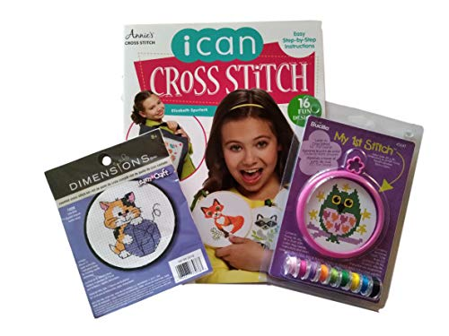 Beginner Counted Cross Stitch Bundle with 2 Counted Cross Stitch Kits and 1 Annie's Cross Stitch I Can Cross Stitch Book – 3 Items ()