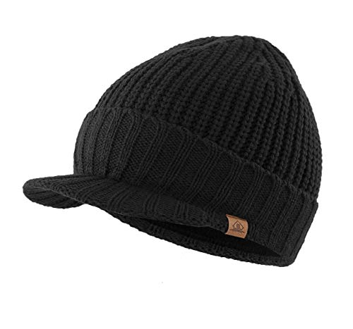 Home Prefer Men's Outdoor Newsboy Hat Winter Warm Thick Knit Beanie Cap with Visor Black (Black Visor Beanie Mens)