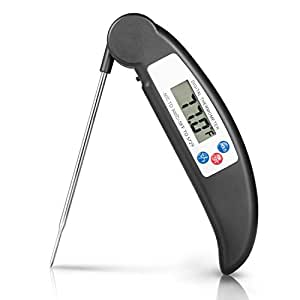 Boomile Instant Read Cooking Thermometer Digital Food Meat Thermometer with Foldable Long Probe for Kitchen, Grill, BBQ, Smoker, Milk, Baking, Bath Water