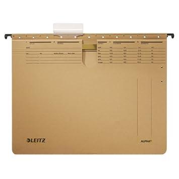 Leitz ALPHA A4 Cartón Marrón archivador colgante - Carpeta (A4, Cartón, Marrón, 250 g/m², 348 mm, 268 mm): Amazon.es: Oficina y papelería