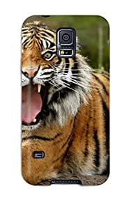 Galaxy S5 Hard Back With Bumper Silicone Gel Tpu Case Cover Tiger