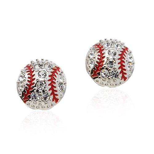 PammyJ Small Silvertone Clear Crystal Baseball Post Earrings