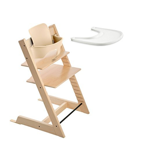 Stokke TRIPP TRAPP with Baby Set and Tray - Natural (Stokke Tripp Trapp High Chair Complete Bundle)