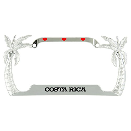 Speedy Pros I Love Heart Costa Rica Palm Tree Metal License Plate Frame Tag Holder