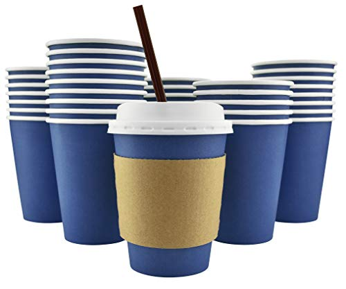 100 Pack - 12 Oz [16 Oz] [4 Colors] Disposable Hot Paper Coffee Cups, Lids, Sleeves, Stirring Straws - Deep Blue -
